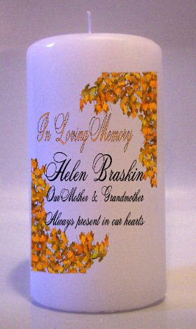 MEMORIAL Fall Leaves 6 inch Pillar Candles Custom Personalized