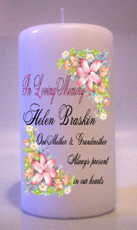 MEMORIAL Pink Lillies 6 inch Pillar Candles Custom Personalized