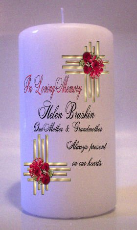 MEMORIAL Gold Red Roses 6 inch Pillar Candles Custom Personalized