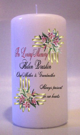 MEMORIAL Pink Tiger Lillies 6 inch Pillar Candles Custom Personalized