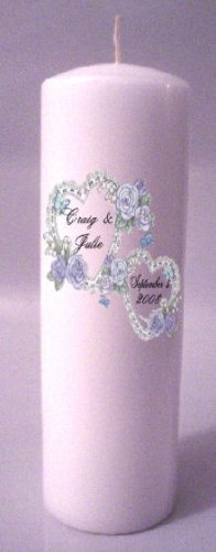 UNITY Blue Hearts 9 inch Pillar Candles Wedding Custom Personalized