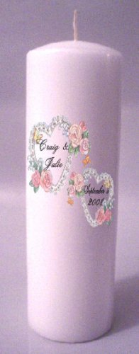 UNITY Pink Hearts 9 inch Pillar Candles Wedding Custom Personalized