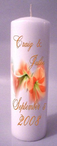UNITY Orange Flowers 9 inch Pillar Candles Wedding Custom Personalized