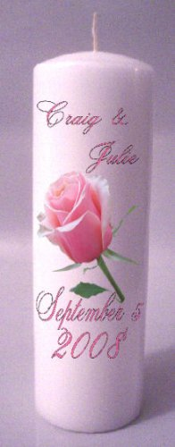 UNITY Pink Rose 9 inch Pillar Candles Wedding Custom Personalized