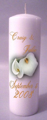 UNITY Cally Lillies 9 inch Pillar Candles Wedding Custom Personalized