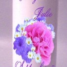 UNITY Pink Flowers 9 inch Pillar Candles Wedding Custom Personalized