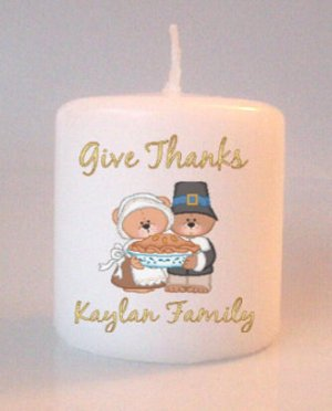 Thanksgiving Bears Small Pillar Candles Custom Favors Add to Gift baskets Personalized