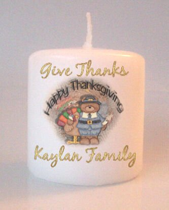 Thanksgiving Turkey Small Pillar Candles Custom Favors Add to Gift baskets Personalized