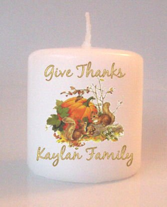 Thanksgiving Fall Small Pillar Candles Custom Favors Add to Gift baskets Personalized