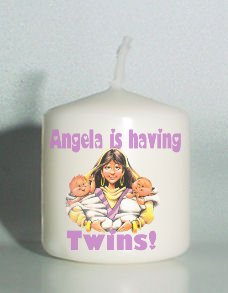6 Custom Candles TWINS Baby Shower Favors Votive Candles Personalized