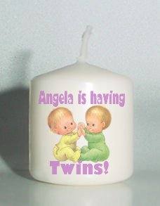 6 Custom  Candles Votive Unisex TWINS Baby Shower Favors  Personalized