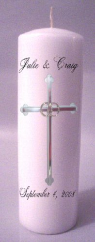 UNITY Candles Silver Cross 9 inch Pillar Wedding Custom Personalized