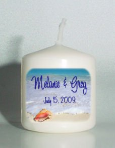 6 Beach Wedding Bridal Shower Custom Favors Votive Candles or Add to Gift baskets