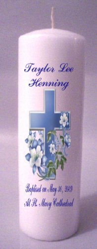 8 inch Pillar Candles Baptisim, Communion, Confirmation Custom Personalized #2
