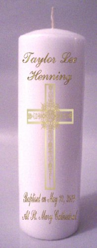 Pillar 8 inch Candles Baptisim, Communion, Confirmation Custom Personalized #3