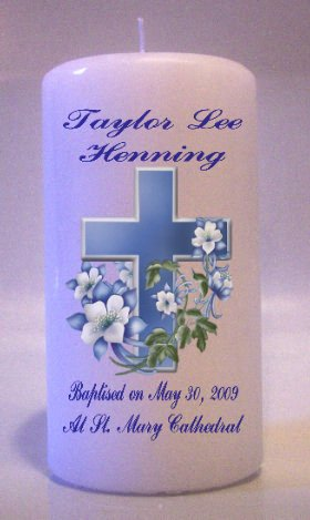 6 inch Baptism, Communion, Confirmation Pillar Memorial Religious Candles #2