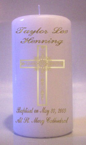 6 inch Pillar Candle Baptism, Communion, Confirmation Memorial Religious Candles #3