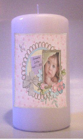 Baby  PHOTO 6 inch Pillar Candle