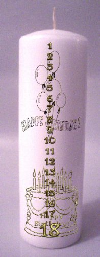 Gold Design COUNTDOWN Birthday 8 inch Pillar Candle - SCENTED