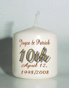 10th ANNIVERSARY set of 6 Votive Candles Custom Favors or Add to Gift baskets Personalized