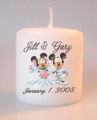 54 Wedding Mickey Minnie Bridal Shower Small Pillar Candles Custom Favors Add to Gift baskets