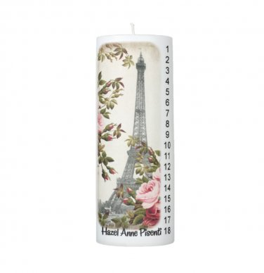 COUNTDOWN Birthday Eiffel Tower Paris France 8 inch Pillar Candle - SCENTED