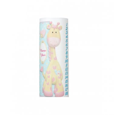 COUNTDOWN Birthday Cute Cartoon Giraffe 8 inch Pillar Candle - SCENTED