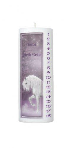 COUNTDOWN Birthday Purple Unicorn 8 inch Pillar Candle - SCENTED