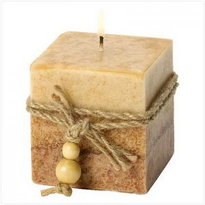 39242 Rustic Wood Cube Candle