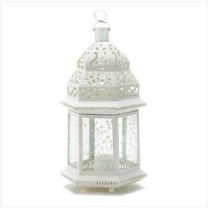 38466 Large White Moroccan Lantern