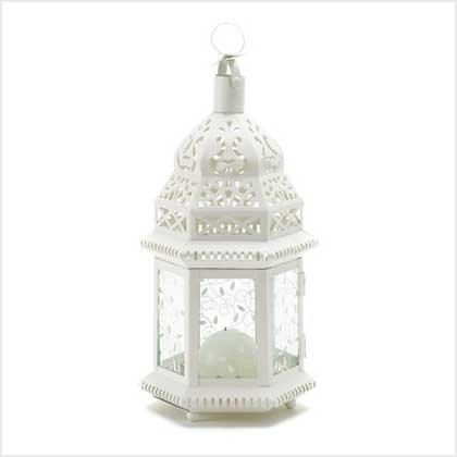 38465 Mid White Moroccan Lantern