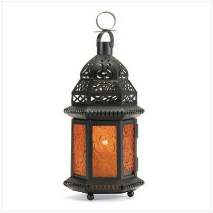 37437 Yellow Glass Moroccan-Style Lantern
