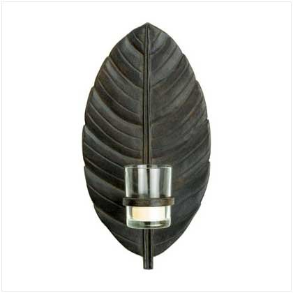 37855 Leaf Wall Sconce with Glass Cup