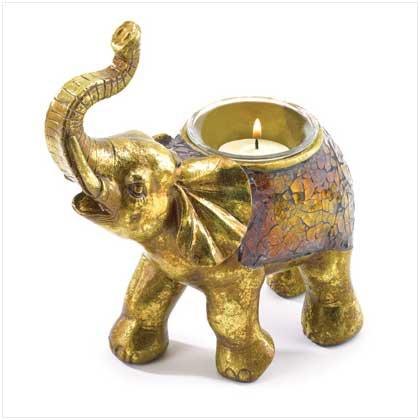 38448 Mosaic Elephant Votive Holder