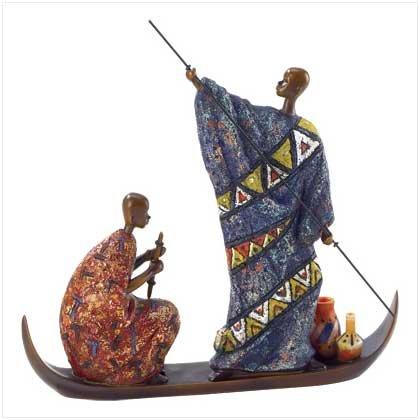 38189 Masai On Boat Figurine