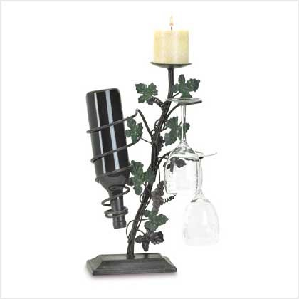 38531 Grapevine Candle | Wine Holder