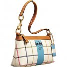 New COACH HERITAGE STRIPE TATTERSALL DEMI