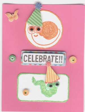 Celebrate with snail and caterpillar