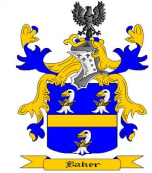 Baker Coat of Arms in Cross Stitch