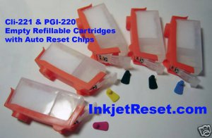 Refillable Cartridges w Auto Reset Chips CLI 221 MX860