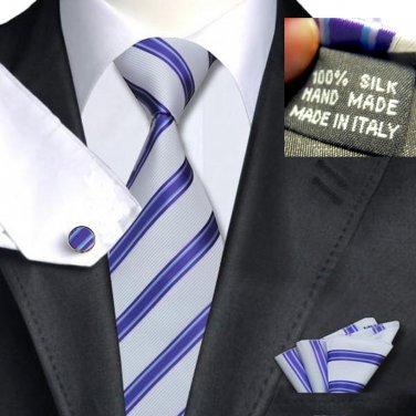 Purple Satin & Textured White Stripe Tie 100% Silk Handkerchief Cufflinks