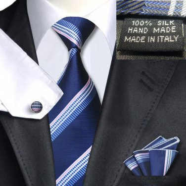 Navy with Light Blue Silver Stripe Tie 100% Silk Handkerchief Cufflinks