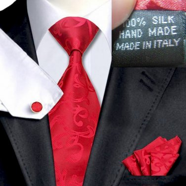 Red Tie Set with jacquard pattern 100% Silk Handkerchief Cufflinks Armani