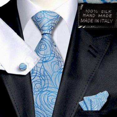Light Blue w Royal Blue Swirl Tie  Set 100% Silk Handkerchief Cufflinks Armani