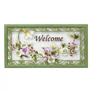 Purple Floral Welcome Sign