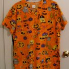 Sponge Bob HALLOWEEN Skull Uniform Scrub Top