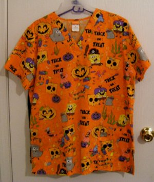 Sponge Bob HALLOWEEN Skull Uniform Scrub Top