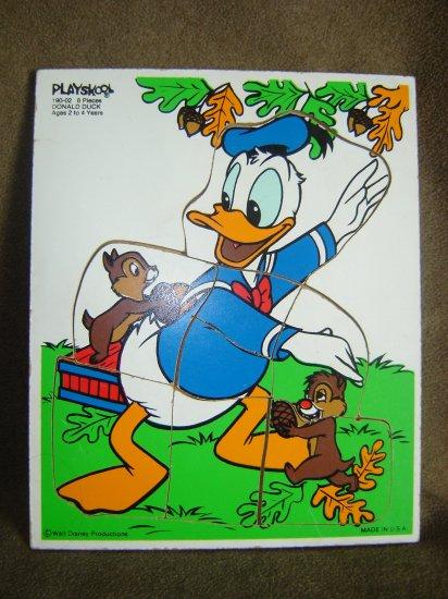 Vintage Wooden Playskool Disney Donald Duck Puzzle 8 Pieces Model 190-02