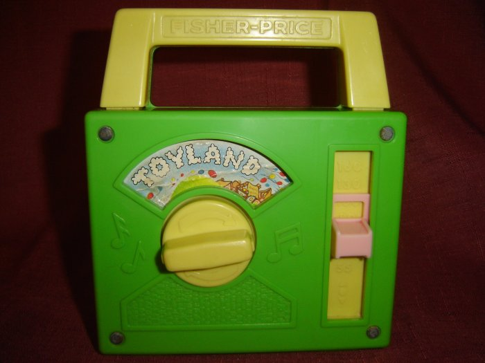 SOLD Vintage Fisher Price 1983 Green Toyland Tote A Tune Radio Musical Model 795