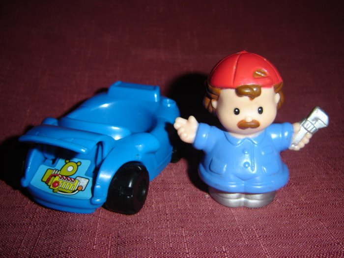 2001 Fisher Price Mechanic and Blue Car From The 72693 Fun Sounds Garage Series Newer FP LP